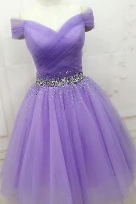 Lavender Prom Gowns V Neck Homecoming Dresses Beaded Women Party Dresses