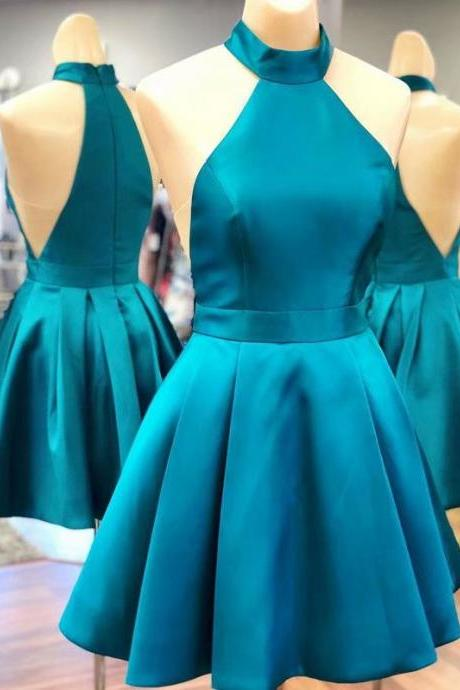 2019 halter Turquoise Satin Homecoming Dresses Simple Women Party Dresses