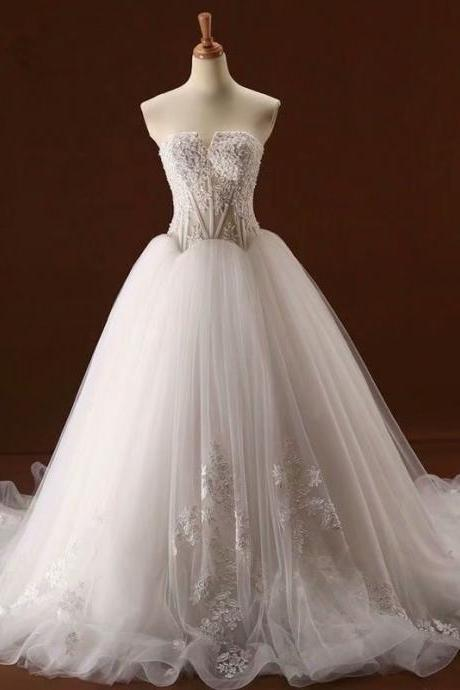 Custom Wedding Dress, Strapless Wedding Dress, 2019 Wedding Dresses, Cheap Wedding Dress, Chapel Train Wedding Dress,Tulle Wedding Dress, Real Photo Wedding Dress, Gorgeous Wedding Dress