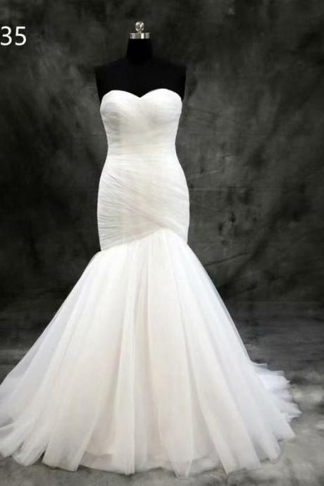 Mermaid Wedding Dress, Strapless Wedding Dress, 2019 Wedding Dresses, Cheap Wedding Dress, Court Train Wedding Dress,Tulle Wedding Dress, Real Photo Wedding Dress, Gorgeous Wedding Dress