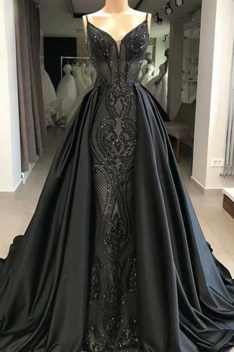 Black Evening Gowns Formal Satin Prom Dress,Sequined V Neck Evening Dress