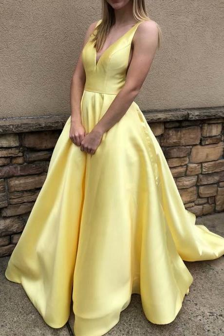 Yellow Bridesmaid Dress Satin V Neck Prom Dress,Cheap Formal Evening Dress