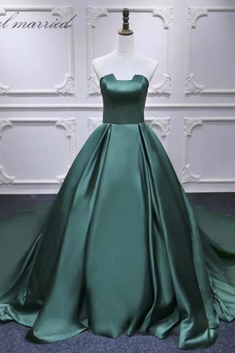 Strapless Formal Gowns Dark Green Chapel Train Prom Dress,Long Elegant Women Party Evening Dress