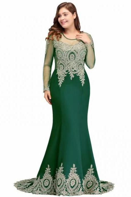 New Green Formal Evening Dresses NewIllusion Lace Appliques Beaded Long Sleeves Mermaid Green Sweep Train Party Dress Prom Gowns