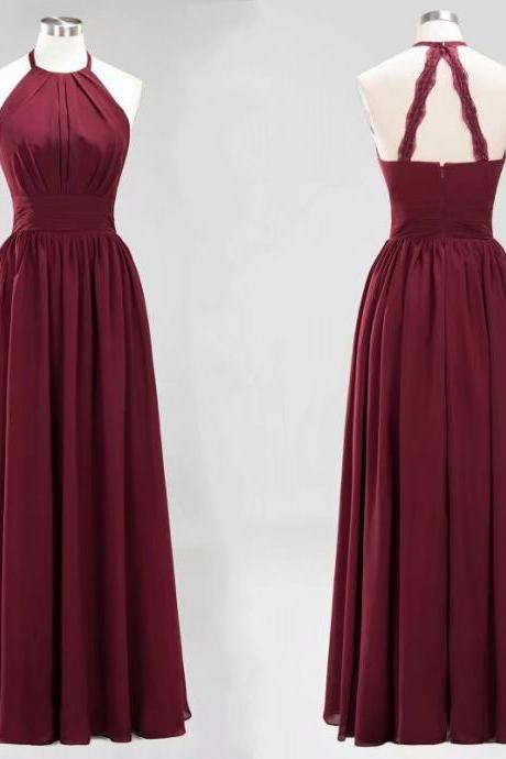 New Arrival Women Party Dress Halter Burgundy A Line Chiffon Zipper Prom Dresses