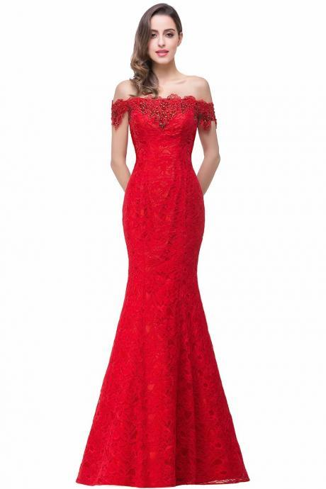 Luxury Fashion Prom Dress Red Lace Formal Gown Women Elegant Long Mermaid Party dress