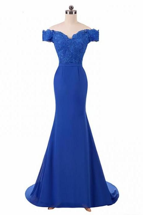 Free Shipping Lace Applique Prom Dresses 2019 V neck Royal Blue Sweep Train Sleeveless Evening Gown Mermaid Lace Up Vestido De