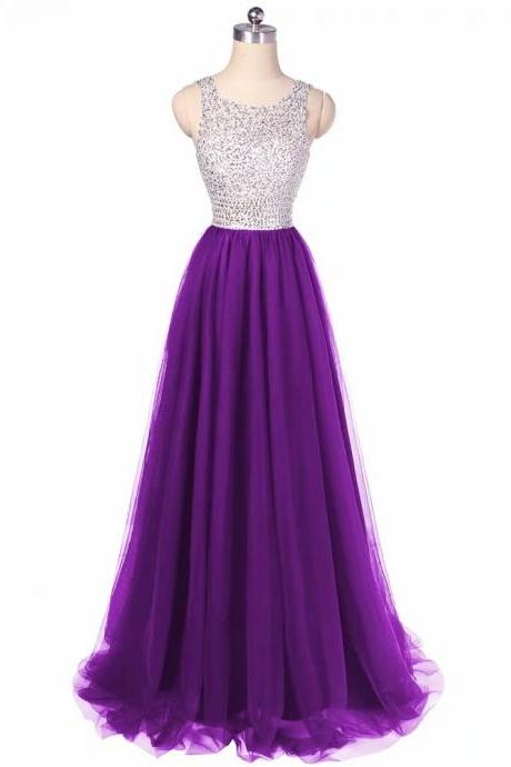 Free Shipping Beading Prom Dresses 2019 Scoop Neck Purple Tulle Sweep Train Sleeveless Evening Gown A-line Lace Up Vestido De