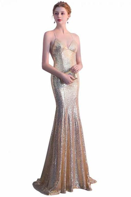 Free Shipping Sequin Prom Dresses 2019 V neck Spaghetti Straps Gold Backless Sweep Train Sleeveless Evening Gown Mermaid Backless Vestido De