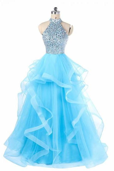 Free Shipping Halter Sparkly Prom Dresses 2019 Backless Evening Party Dress Elegant Sexy Tulle Vestido de Festa Real Photo Formal Gowns