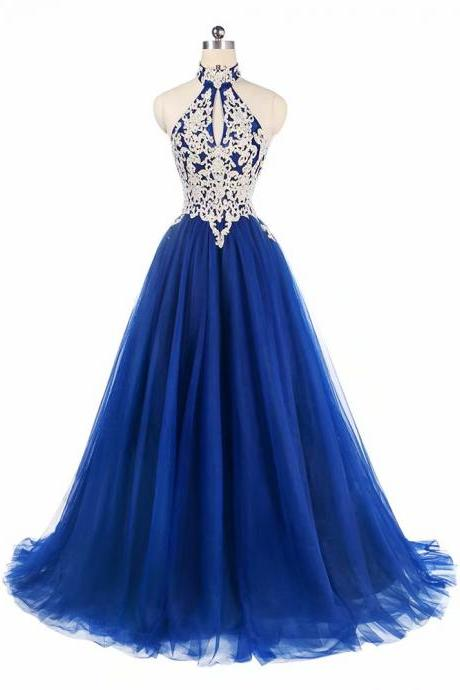 Free Shipping Halter Prom Dresses 2019 Blue Tulle Sweep Train Sleeveless Evening Gown A-line Backless Vestido De