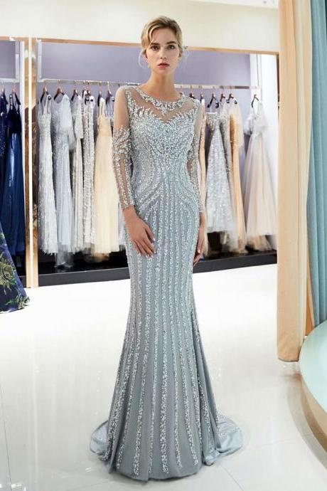 Free Shipping Evening dresses Sequined Sheer Neck Zipper back Mermaid Party Gowns Grey Floor-length Trumpet Prom dresses