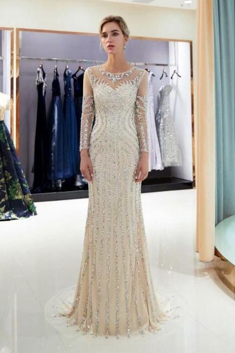 2019 New Evening dresses Sequined Sheer Neck Zipper back Mermaid Party Gowns C Champagne Long Sleeve Floor-length Trumpet Prom dresses