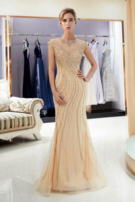 Free Shipping Evening dresses Sequined O Neck Zipper back Mermaid Party Gowns champagne Backless Floor-length Trumpet Prom dresses