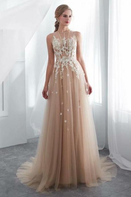 Fashion Evening dresses Lace Applique Zipper back A Line Party Gowns Royal Backless Floor-length Prom dresses