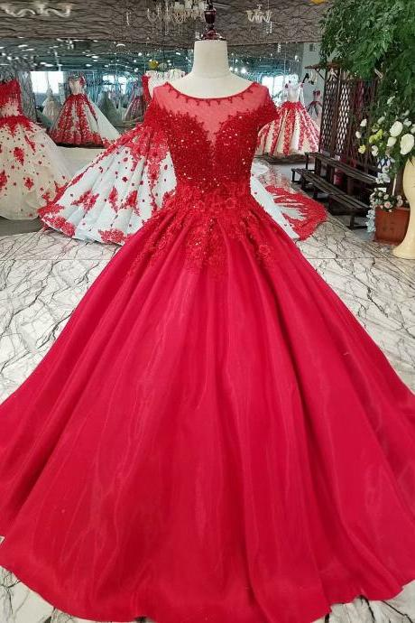 Free Shipping Evening dresses Sequined Scoop Neck Lace-Up back Ball Gown Party Gowns Red Floor-length Formal Prom dresses