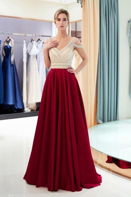 New Arrival Evening dresses Wine Red Sequined Deep V-neck Zipper back A Line Party Gowns Burgundy Backless Floor-length Prom dresses