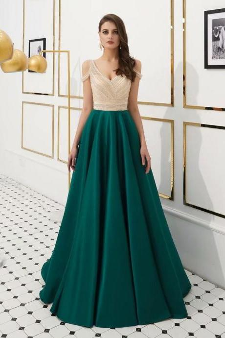 New Elegant Evening dresses Sequined V-neck Zipper Back Teal Green Beading Party Gowns Backless Floor-length A Line Prom dresses