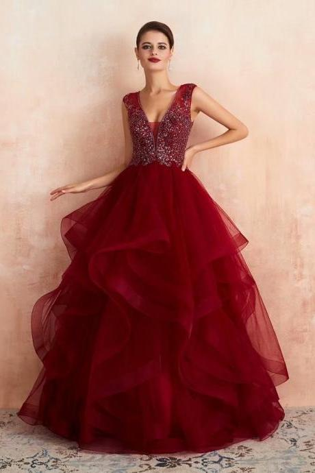 Free Shipping Wine-Red Evening dresses Sequined V-neck Zipper back Burgundy Party Gowns Floor-length Beading Tulle Prom dresses