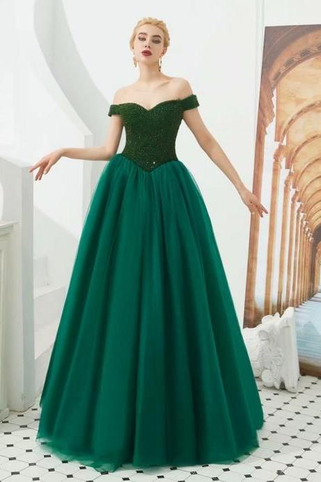 Free Shipping Evening dresses Sequined V-neck Lace Up back A Line Party Gowns Dark Green Floor-length Prom dresses