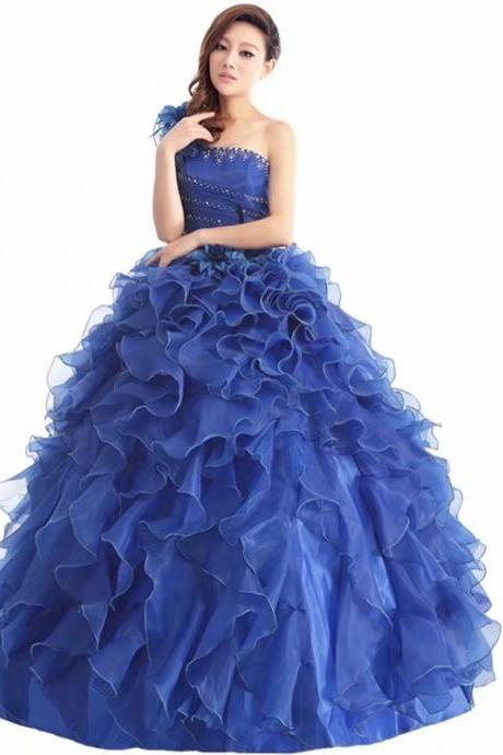 Free Shipping Elegant Prom Dresses Long 2019 Women's Sexy A-line One Shoulder Royal Blue Organza Cheap Evening Party Gowns
