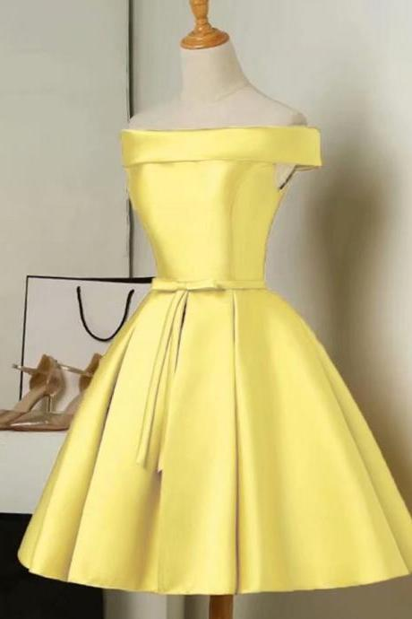 Prom Dresses 2019 Free Shipping Elegant Ladies Sexy Sleeveless Above Knee Mini Yellow Satin Ball Gown Formal Party Dress