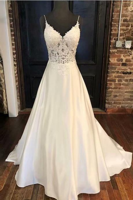 Cheap Ball Gowns Spaghetti Straps White Ivory Satin Wedding Dresses 2019 With Lace Applique Bridal Dress Marriage Customer Made Size