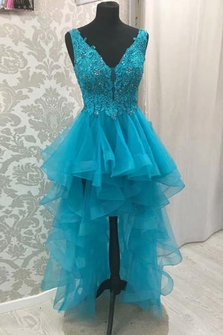 Free Shipping High Low Blue Evening Dresses 2019 V-Neck Sleeveless Backless Sweep Train With Lace Applique Custom Made Beading Prom Dresses