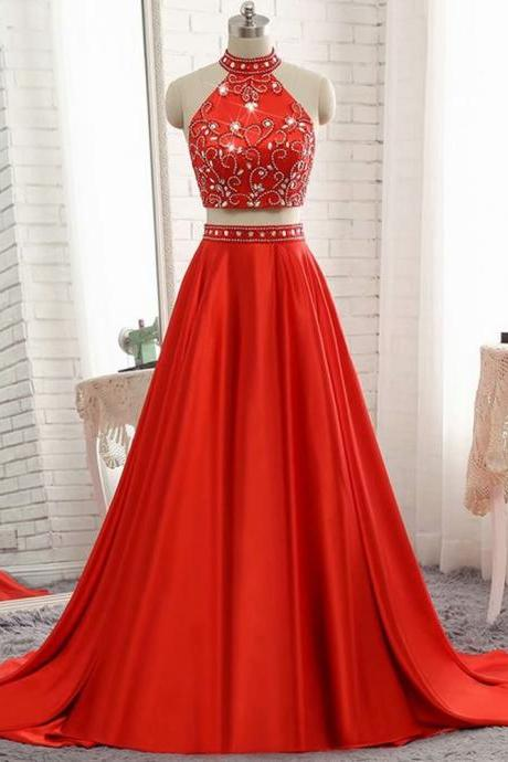 Top Quality 2 Piece Evening Dresses 2019 Halter Neckline Sweep Train With Beading Crystal Custom Made Long Elegant Prom Dresses
