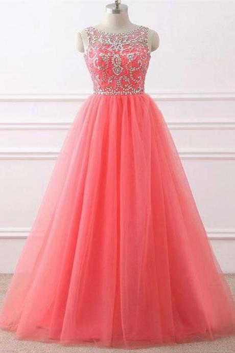 Watermelon Red Free Shipping Long Prom Dress,Elegant Floor Length Backless Formal Dress,Straps A line Prom Gowns for Women