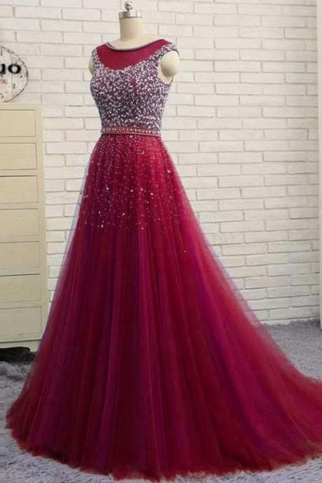 Burgundy Free Shipping Scoop Neckline A-line Prom Dresses,Cheap Prom Dress,Prom Dresses For Teens,Beading Rhinestone Tulle Evening Dresses