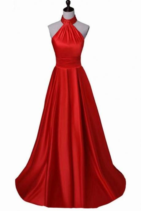 Halter Long Free Shipping Satin Red Prom Dress Floor Length Women Evening Dress