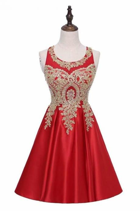 Red A-Line Scoop Short Satin Lace Bodice Bridesmaid Dress