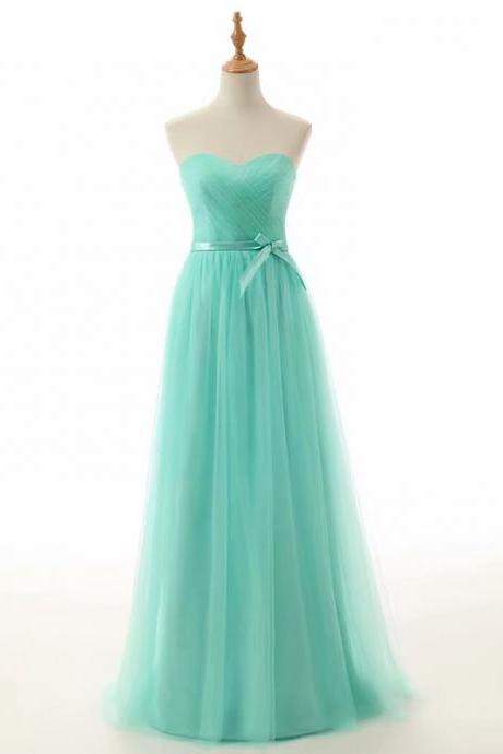 A-Line Sweetheart Floor-Length Empire Green Tulle Bridesmaid Dress With Sweetheart Neckline