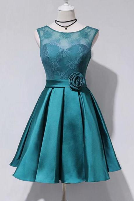 A-Line Lace Short Length Empire Teal Green Satin Bridesmaid Dress with Flower
