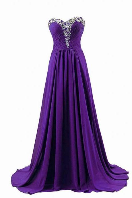 New Arrival A-Line Chiffon Purple Floor-Length Empire Chapel Train Bridesmaid Dress With Beaded Rhinestone Bodice