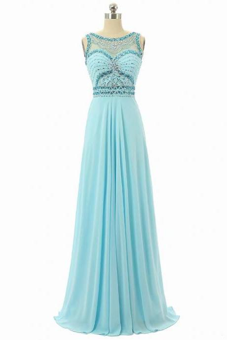 Elegant A-Line Long Empire Light Blue Chiffon Bridesmaid Dresses With Sheer Neck