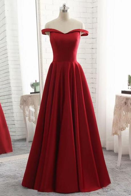 2019 New Arrival Off Shoulder Burgundy Satin Floor-Length Satin Bridesmaid Dresses