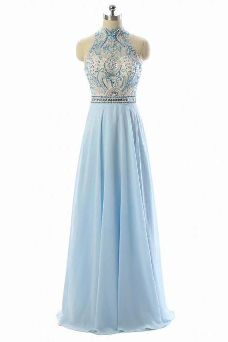 2018 A-Line Halter Neckline Floor-Length Empire Light Blue Beaded Chiffon Bridesmaid Dress with Sequins