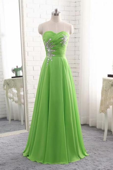 Long Elegant Chiffon Green Empire Floor Length Beaded Bridesmaid Dress with Sequins