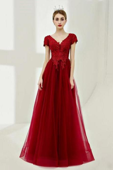 New V Neck Floor-Length Burgundy Tulle Cap Sleeve Bridesmaid Dresses With Lace Bodice