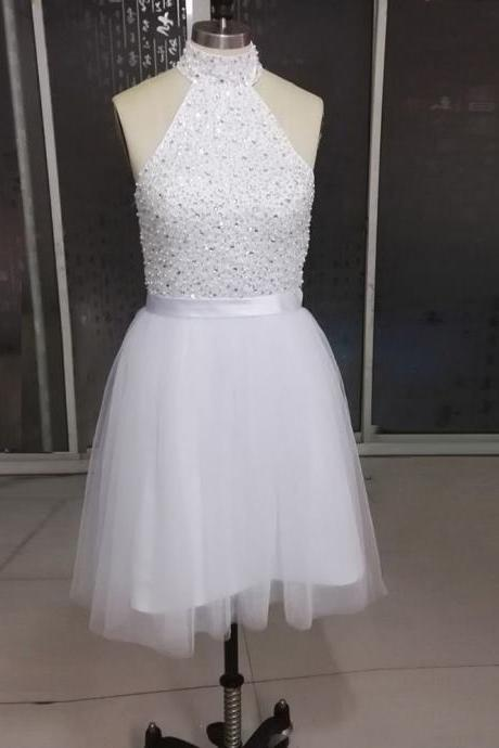 White Homecoming Dresses Halter Neckline Backless Short Prom Dresses --Mini Dresses,Short Formal Dress