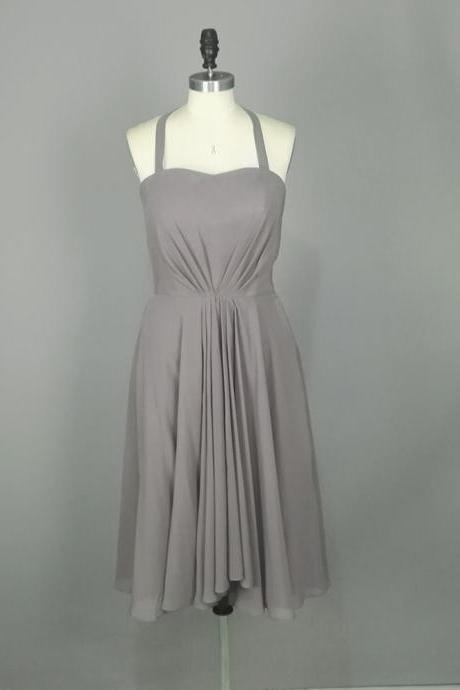 Simple Gray Short Prom Dresses, Halter Neckline Chiffon Homecoming Dresses ,Mini Dresses,Short Party Dresses,Cocktail Dresses