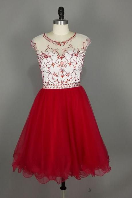 Sparkly Red Homecoming Dresses,Short Prom Dresses,Illusion Jewel Neckline Backless Organza Crystal Mini Dresses