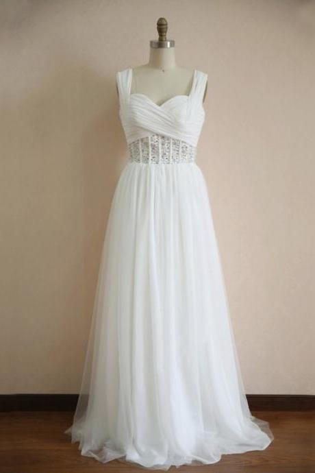 Vintage White Spaghetti Straps Prom Dresses Floor Length Organza Beaded Formal Gonws