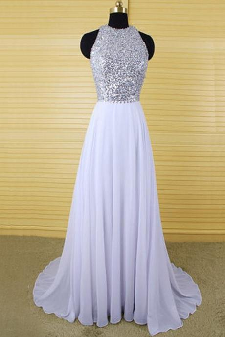Sexy Jewel Neckline Backless Sequined Formal Dresses,Long Elegant White Chiffon Prom Dresses,