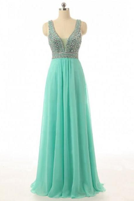 Beaded Turquoise Prom Dresses Floor Length V Neck Chiffon Evening Gowns With Beaded Straps - Formal Dresses, Party Dress