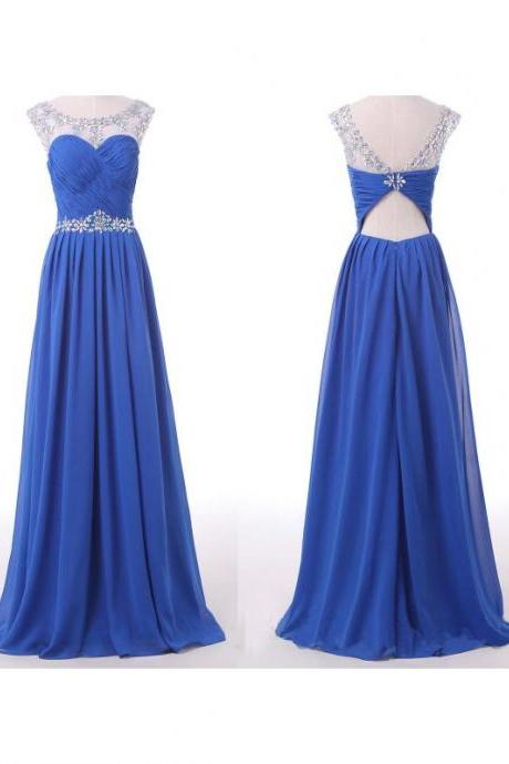 2016 Floor Length Royal Blue Beaded Prom Dresses,Luxury Illusion Neck Crystal Beaded Embellished Formal Dresses