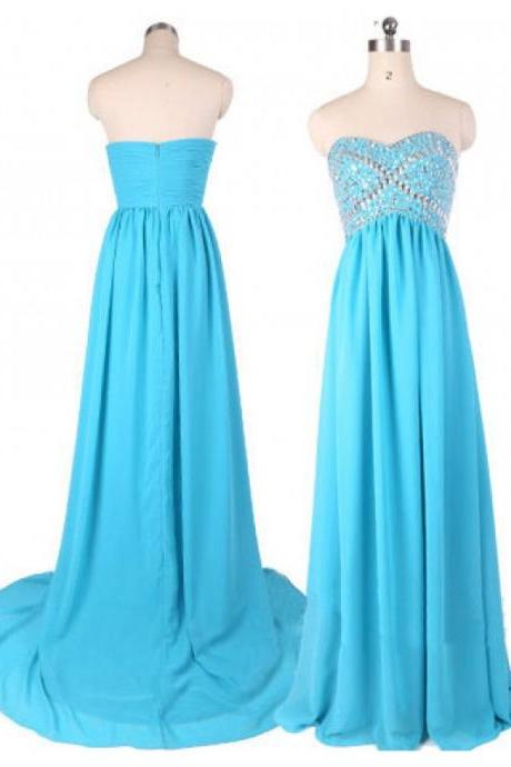 Light Blue Beaded Embellished Sweetheart Floor Length Chiffon Formal Dress Featuring Sweep Train, Prom Dress