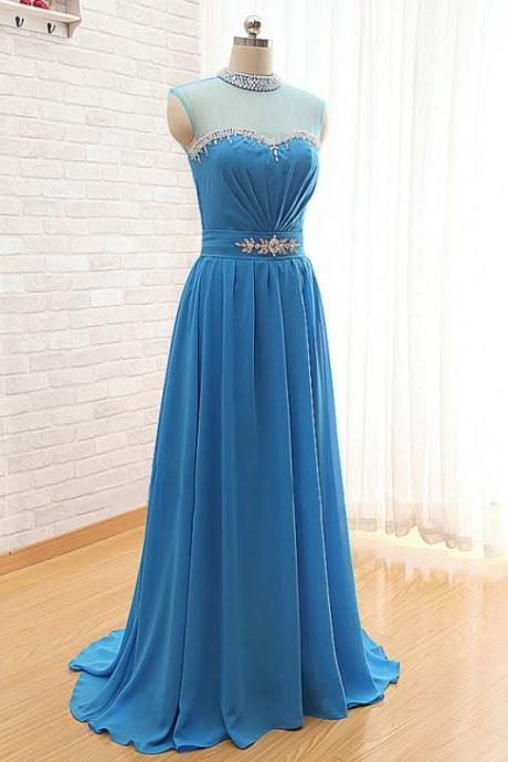 2016 Long Sky Blue Prom Gowns Beaded Neckline Sleeveless Chiffon Evening Dresses With Short Train - Formal Gowns,Party Dress
